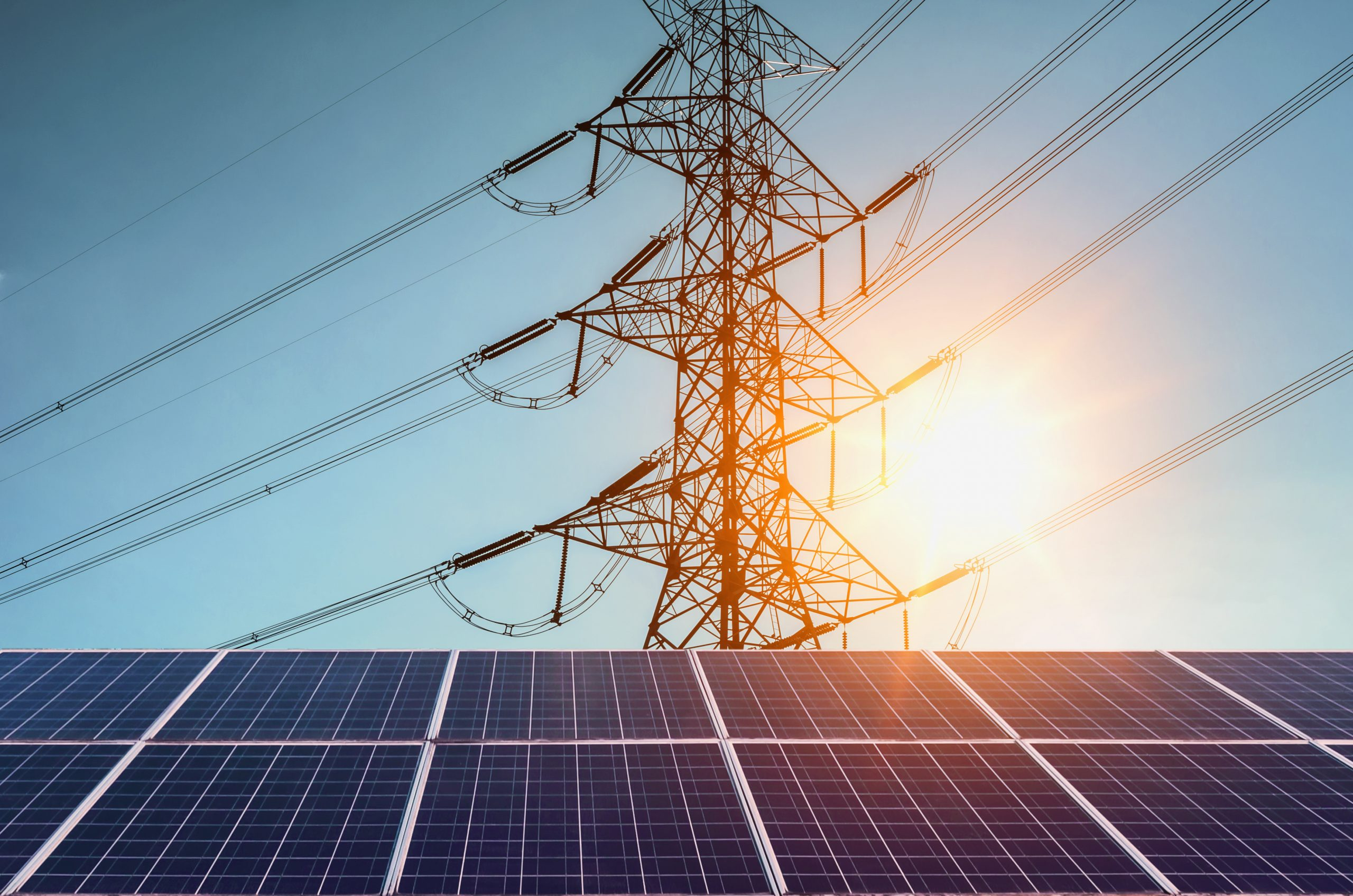el från solceller, solnedgång, ren energi