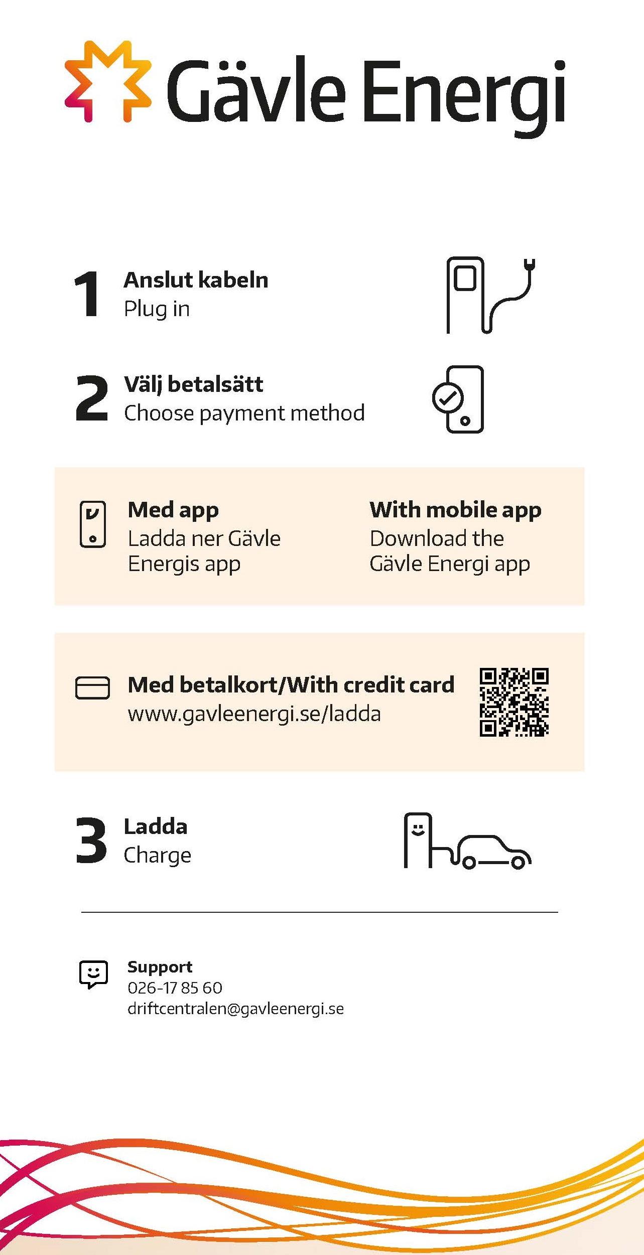 Betalningsinstruktioner på fordonsladdare för elbilar. 1. Anslut kabeln 2. Välj betalsätt Med app eller med betalkort 3. Ladda